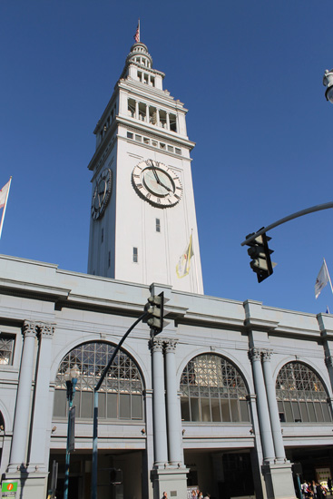The Ferry Building -- located on the pier -- is used as a ferry terminal but also includes various eateries and other shops.
