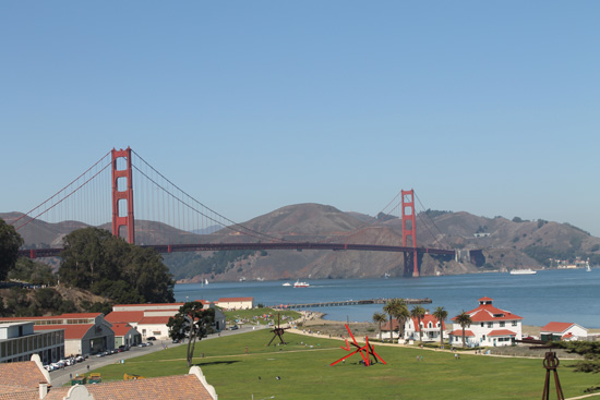The entrance point of the Golden Gate Bridge offers clear views, provided it's a clear day.