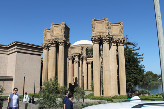 The monumental structure of the Palace of Fine Arts -- in the Marina District -- was originally built for the 1915 Panama-Pacific Exposition to exhibit works of art presented there.