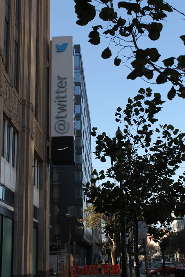 The famous @twitter logo marks the company's headquarters.